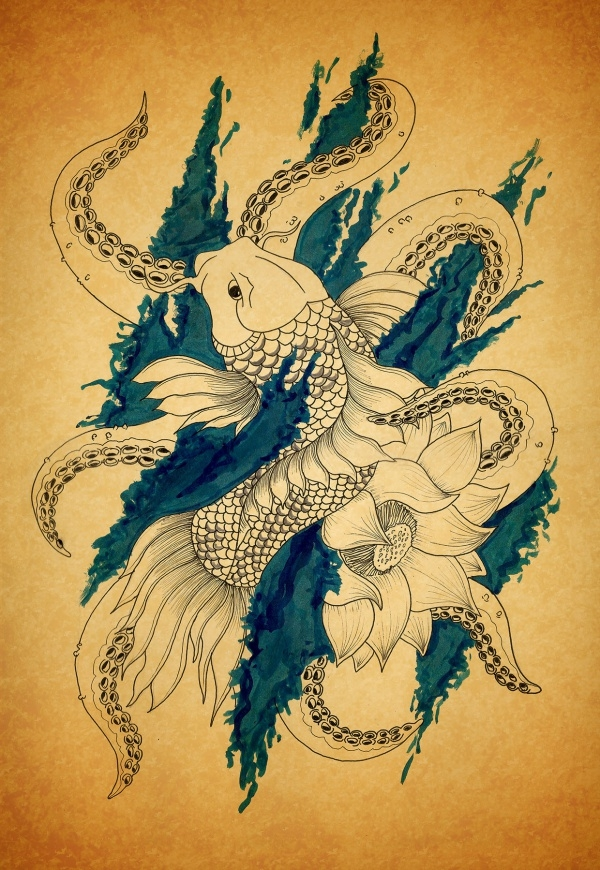 Octopus Tattoo Illustrative Design