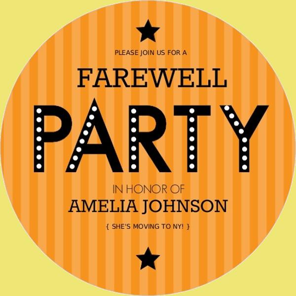 Orange Stripe Farewell Party Invitation