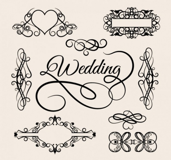 ornamental wedding frame clipart