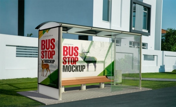 Outdoor Bus Stand Advertising Mockup