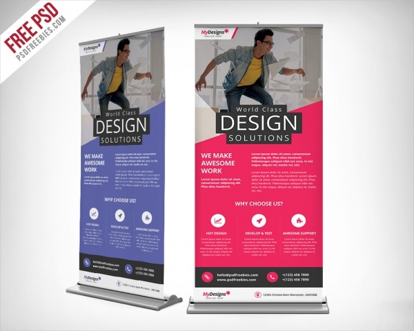 Outdoor Roll-Up Banner Free PSD