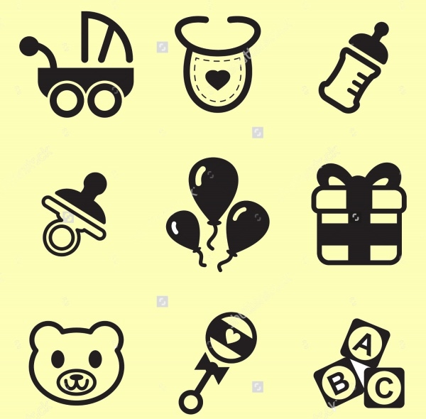 Outline Icons for Baby Shower