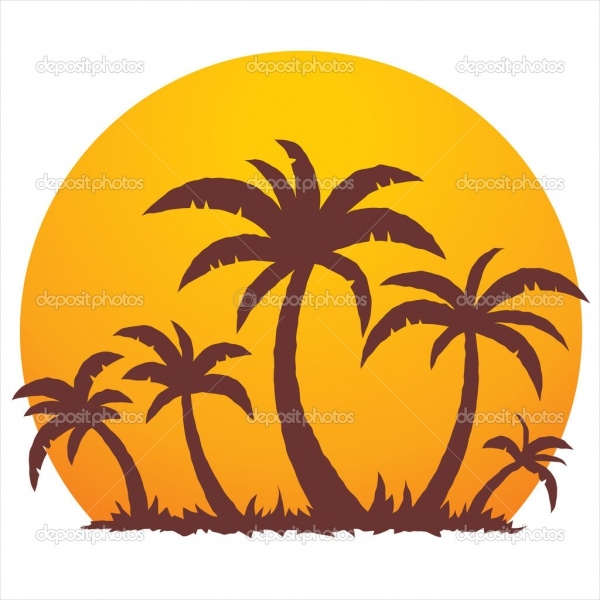 Palm trees Sun Clipart