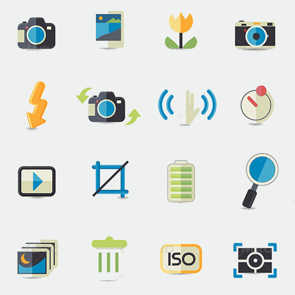 Photo Camera Setting Outline Icons