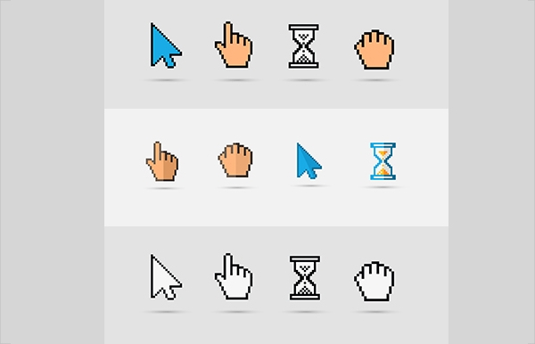 Pixel Colorful Ccursors Icons