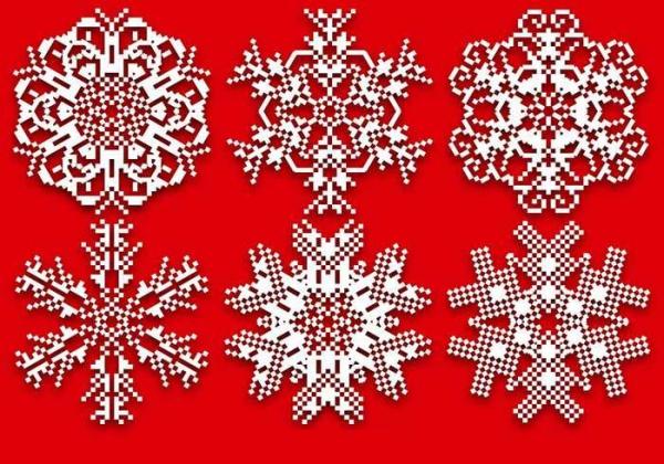 Pixelated Snowflakes Vector elements