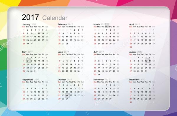 Pocket Size Yearly Calendar