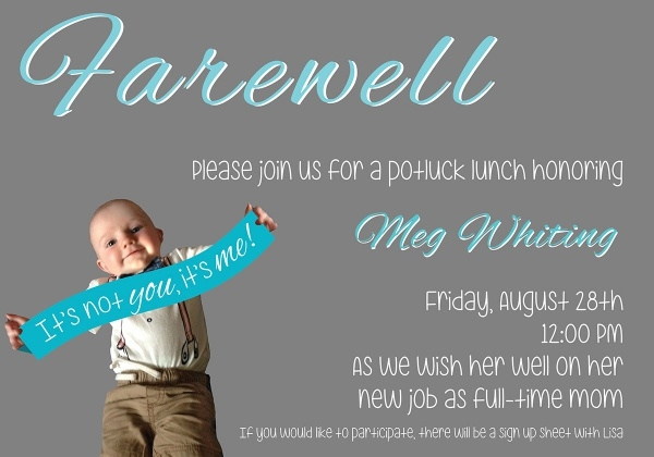 Pot Luck Farewell Invitation