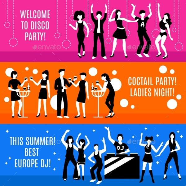 Printable Disco Party Banner Design