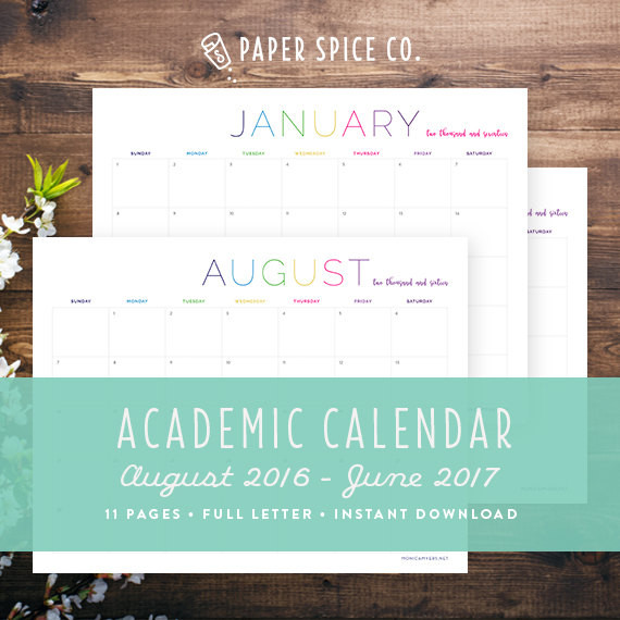 Printable Monthly Academic Calendar
