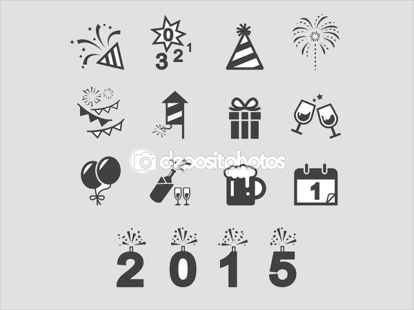 Printable New Year Icons