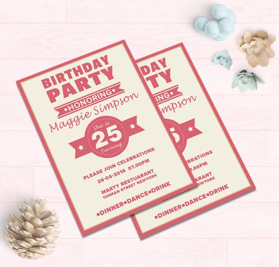 printable teen birthday party invitation