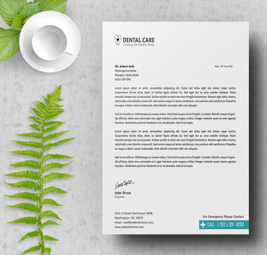 professional dentalcare letterhead