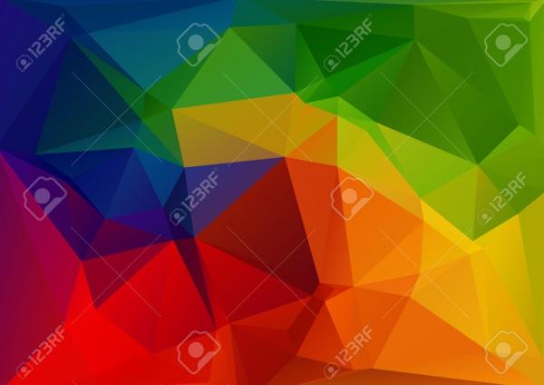 Rainbow Bright Polygonal Pattern