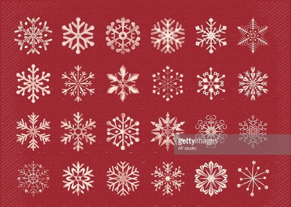 Retro Hand Drawn Snowflakes Clipart