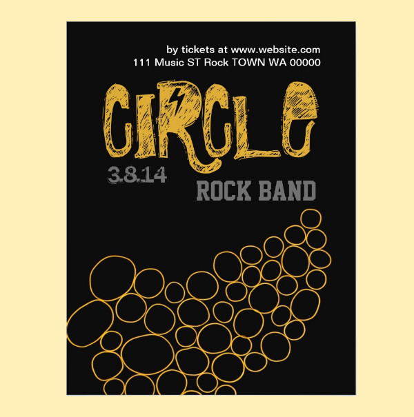 Rock Band Circle MUsic Flyer