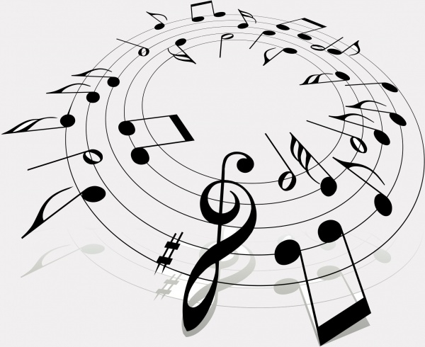 Round Black Lined Music Clipart