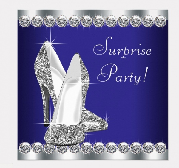 Royal Blue Surprise Party Invitation