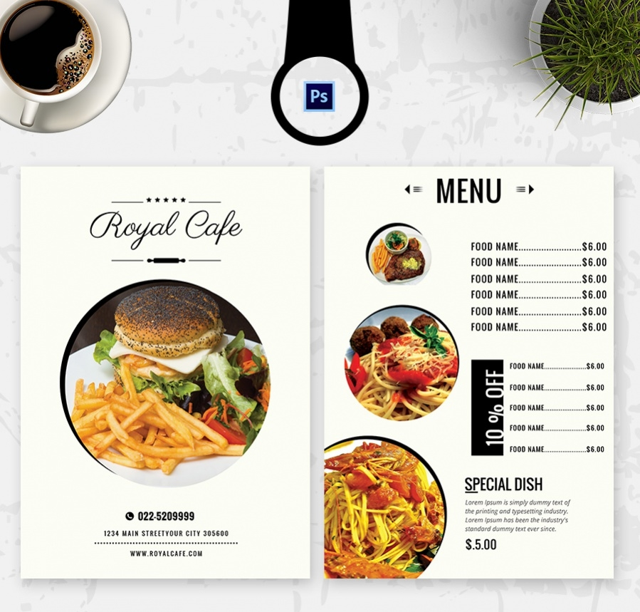 royal cafe menu template with prices