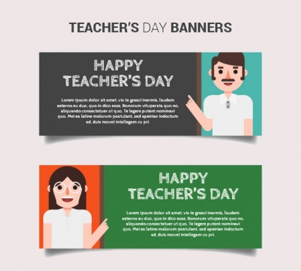 School Banners of happy teacher's day