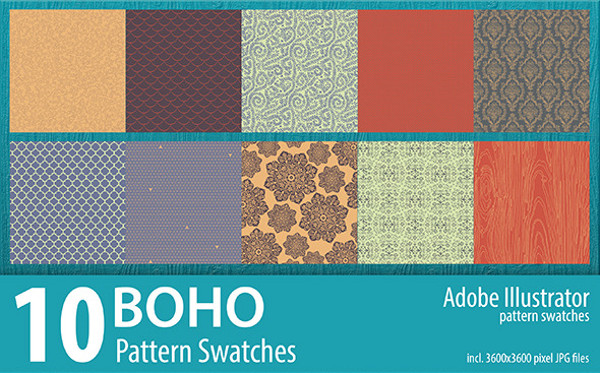 Seamless Bohemain Pattern Swatches