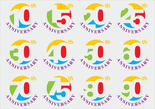 Set of Anniversary Titles Icons