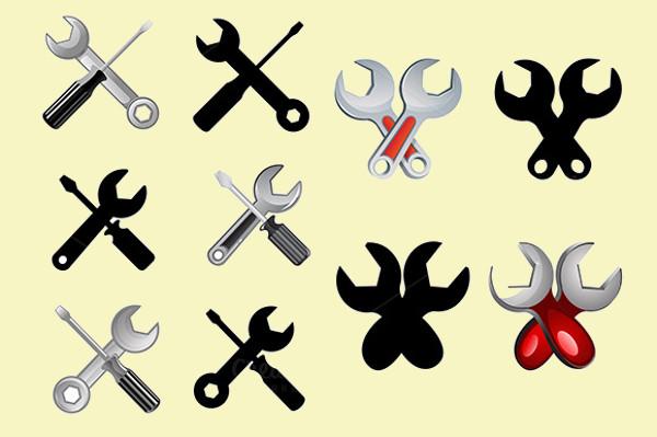 Set of Repair Setting Flat Icons