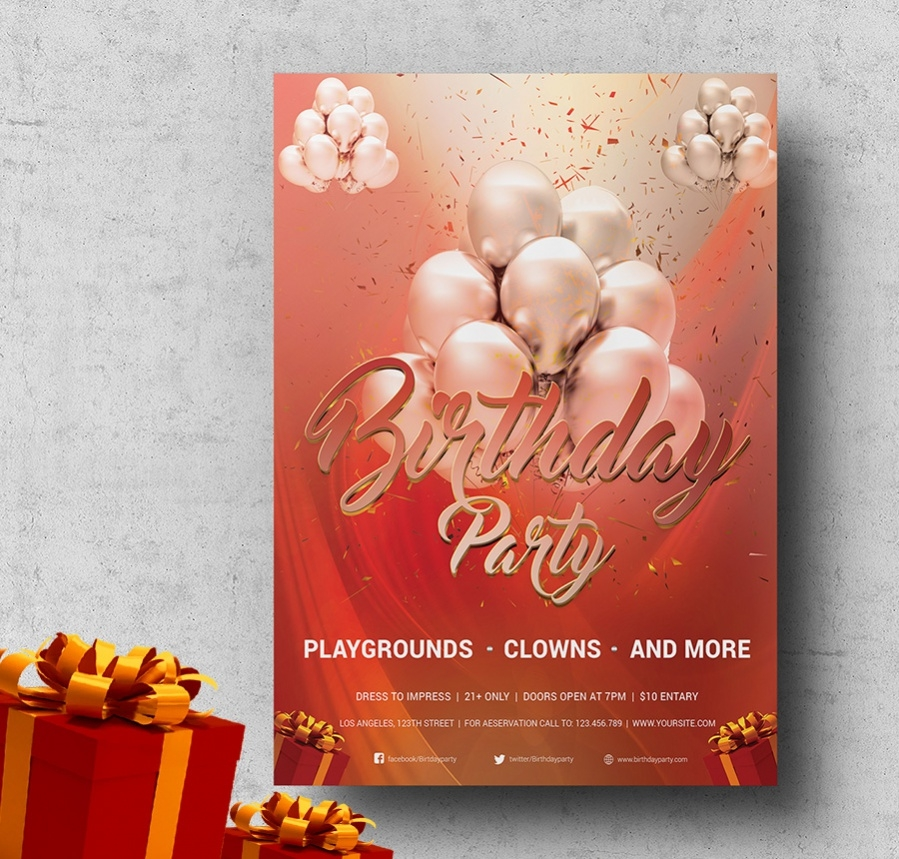 simple birthdayparty flyer