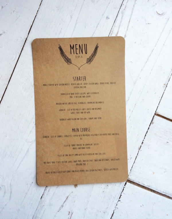 Simple Menu Card Design