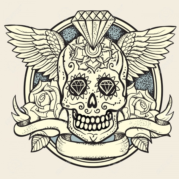 skull roses tattoo illustration
