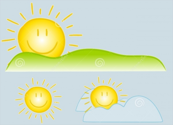 Smiley Sun Rays Clipart Element