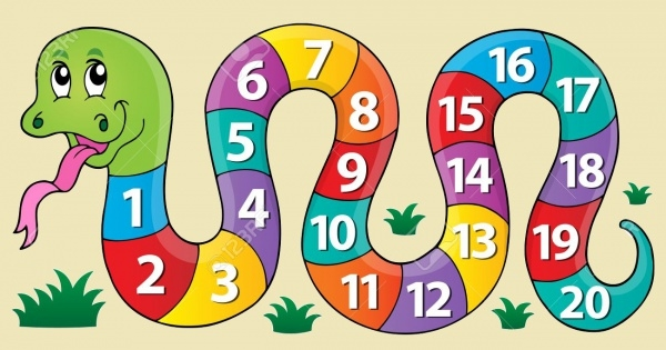 Snake with Numbers Theme Clipart