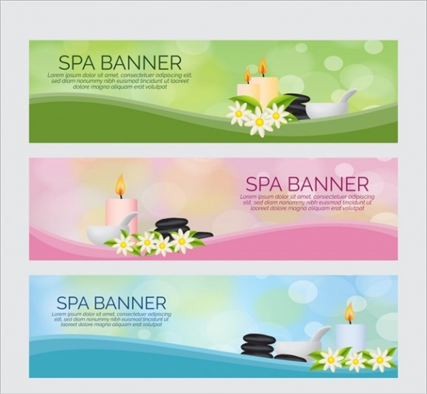 Spa banners with beauty products