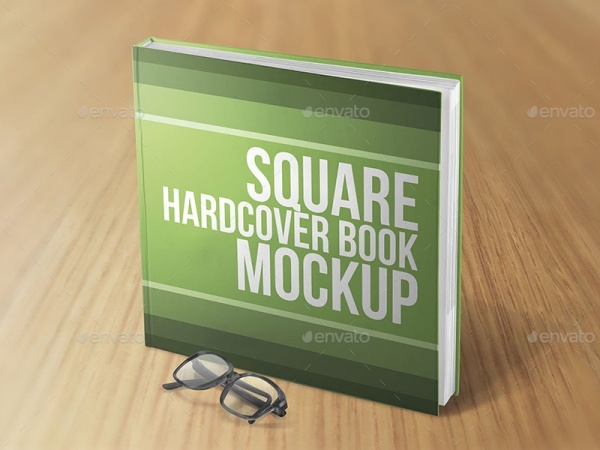 Square Hardcover Book Mock-up