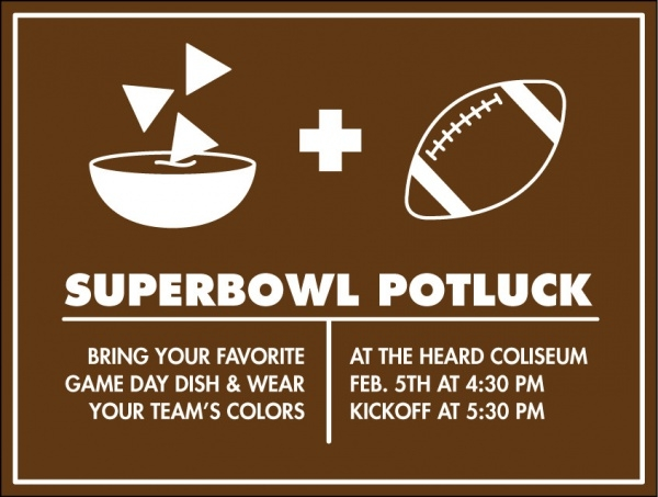 Superbowl Potluck Invitation Design