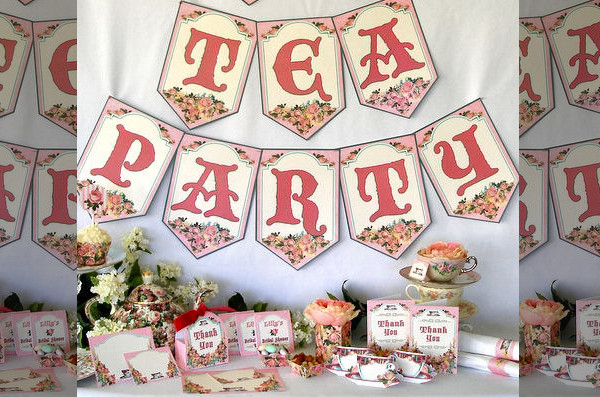 Tea Party Bunting Banner