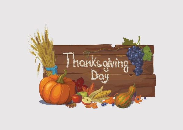 Thanksgiving Typography Wooden Clipart
