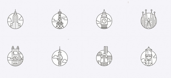 Thin Rounded City Icons