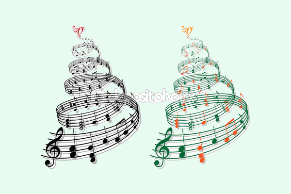Tree with music notes Clipart