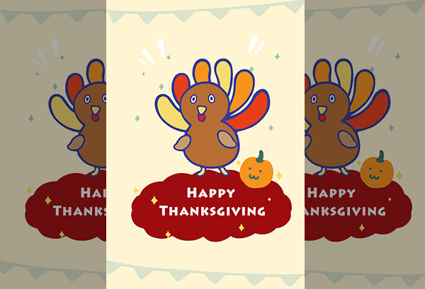 Turkey and Pumpkin Thanksgiving Greeting Card