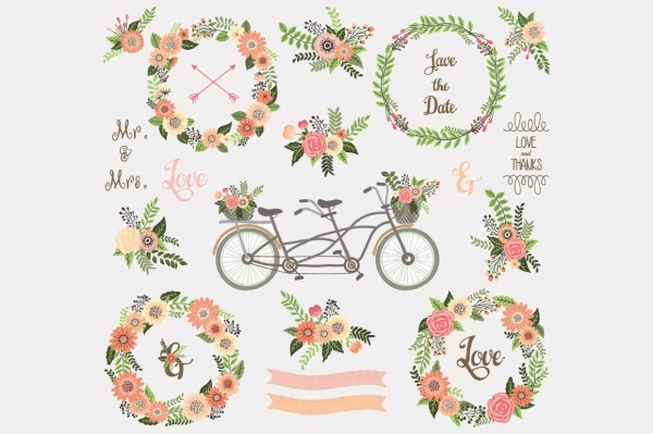 vector wedding floral clipart