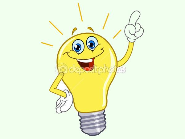 Vector cartoon of a Light Bulb Clipart