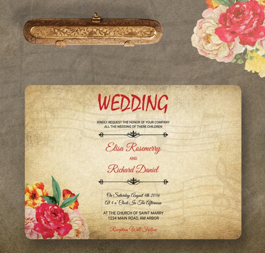 vintage free wedding invitation