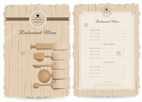 Vintage Menu Card Design