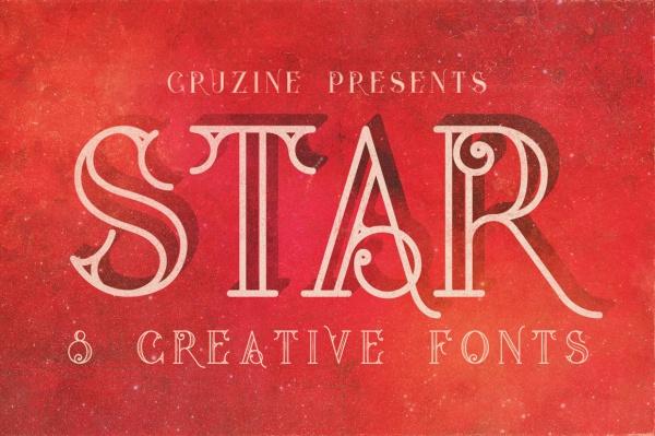 Vintage Star Typeface Font