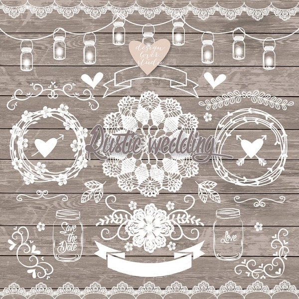 Vintage Wedding Elements Clip Art