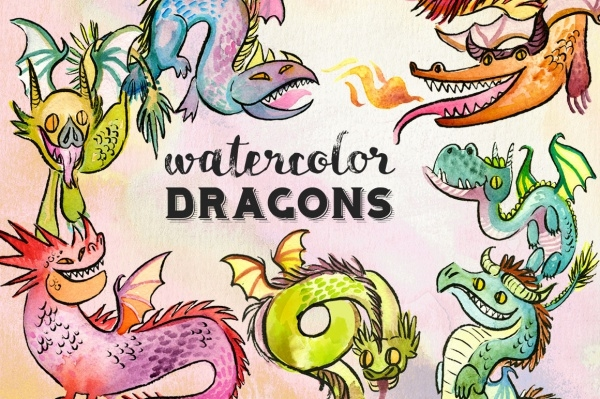 Watercolor Baby Dragon Clipart
