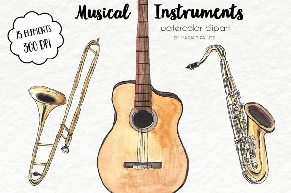Watercolor Clipart of Music Notes