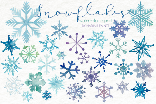 Watercolor Snowflake Cartoon Clipart