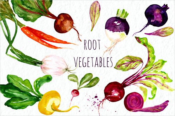 Watercolor Vector Food Clip Art